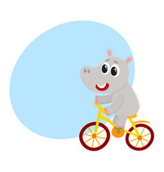 cute little hippo character riding bicycle vector image