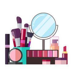 Decorative cosmetics and professional makeup tools vector