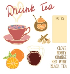 Delicious autumn drunk tea recipe with red wine h vector