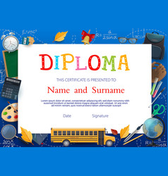 Diploma certificate template with school supplies vector