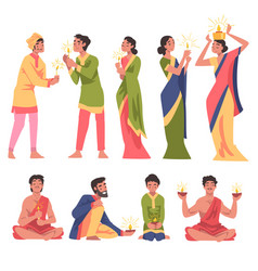 diwali hindu holiday indian people in traditional vector image