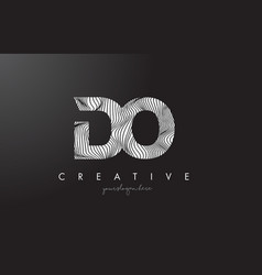 do d o letter logo with zebra lines texture vector image