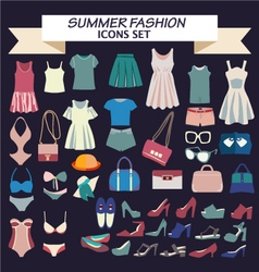 Fashion beautiful collection of woman clothes vector image