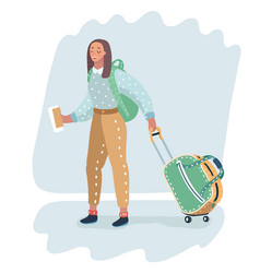 Female traveler carrying wheeled bag vector