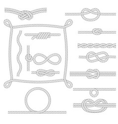 Figured rope frames knots borders and corners vector