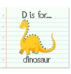 Flashcard letter D is for dinosaur vector