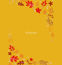 Flat autumn plant frame on yellow background vector
