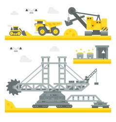 Flat design mining site equipment vector