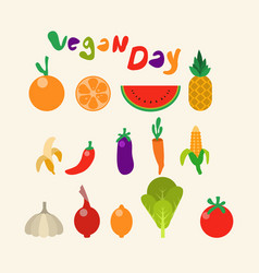 Fruit vegetable collection flat color vector