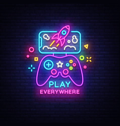 gamepad and smartphone neon sign games vector image