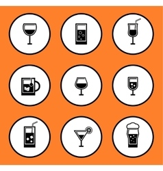 Glassful icon set vector