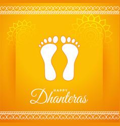 Golden happy dhanteras festival card vector