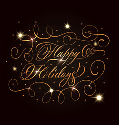 golden holidays greeting composition vector image