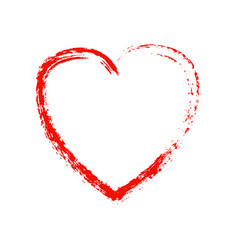 grunge red heart on white background vector image
