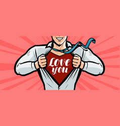 Handsome guy is explained in love greeting card vector