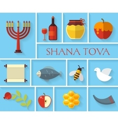 Happy Jewish new year Shana Tova icons vector
