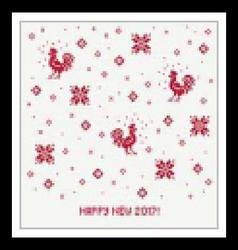 Happy new 2017 year christmas card with rooster vector