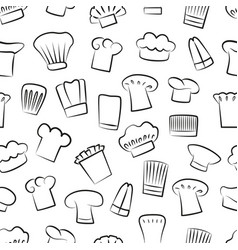 hat chef seamless pattern vector image