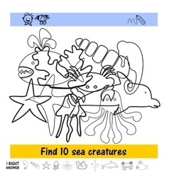 Homework for kids how to find the ten sea vector