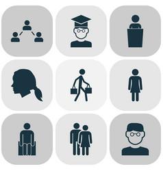 Human icons set with smart man student social vector