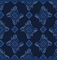 Indigo blue ornament ogee shapes pattern vector
