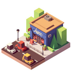 Isometric jeans clothes store vector