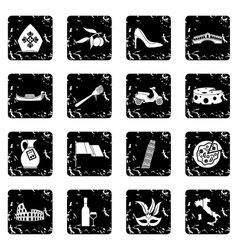 Italy icons set grunge style vector image