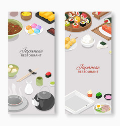 Japanese restaurant traditional cuisine with sushi vector