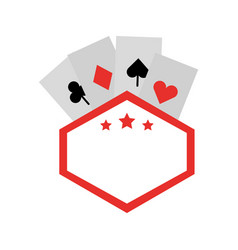 Label with poker cards vector
