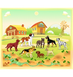 landscape with group dogs vector image