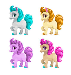 little cute cartoon horse vector image