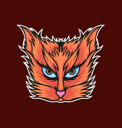 long hairs cat mascot logo vector image