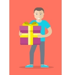 Man with gift box flat design vector