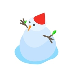 Melting snowman icon isometric 3d style vector image