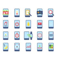 Mobile application icon set 3 flat stye vector