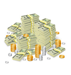 Money stack banknotes and coins concept vector