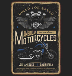motorcycle poster vintage biker moto chopper bike vector image