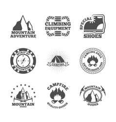 Mountine climber labels set vector