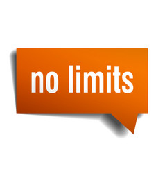 no limits orange 3d speech bubble vector image