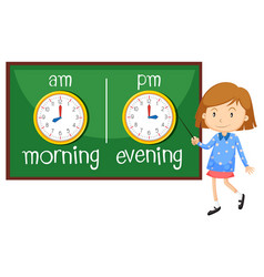 Opposite wordcard for morning and evening vector