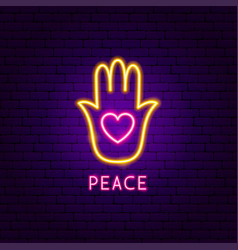 Peace neon label vector