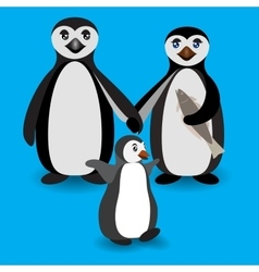 Penguin family love feeling vector