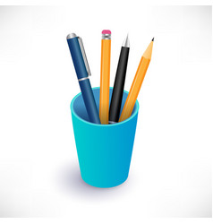 pens and pencils in blue cup vector image