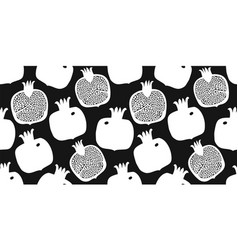 pomegranate seamless pattern hand drawn fruit vector image