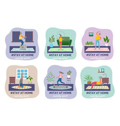 Quarantine isolation stay at home and play sports vector