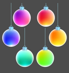 Rainbow christmas balls isolated on gray vector
