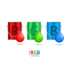 realistic color metall can bucket and drop set vector image