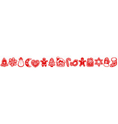red silhouette christmas gingerbread cookies vector image