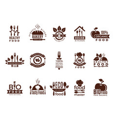 Restaurant logo food manufacture vintage labels vector
