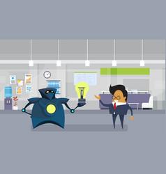 Robot giving asian business man light bulb new vector